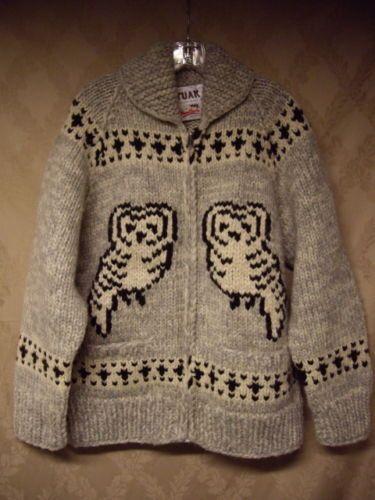 Snow Owl Cowichan from ebay Tuak Cowichan Sweater Owls Bulky Knit Canada Zip Front Shawl Collar Lebowski | eBay