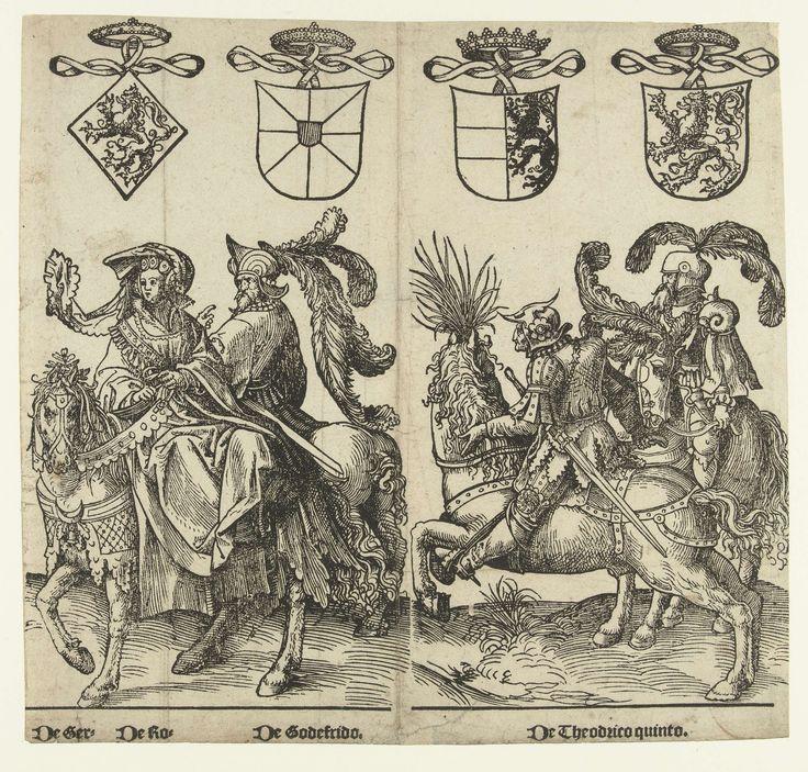 Gertruida van Saksen, Robrecht I de Fries, Godfried met de bult en Dirk V, Jacob Cornelisz. van Oostsanen, 1518