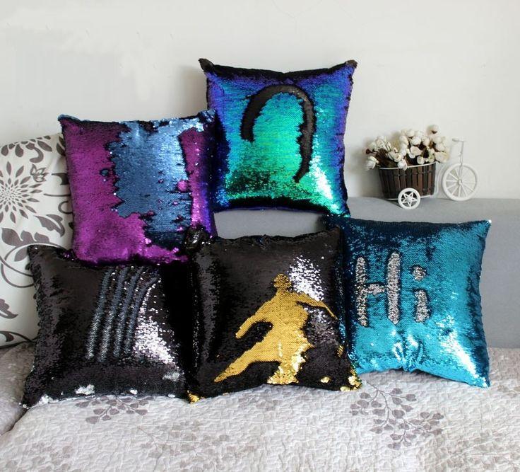 Reversível Da Sereia Lantejoula cor mágica mudança sequin lance fronha Capa de Almofada travesseiro Decoração de Casa Fronha Decorativo em Capas de almofadas de Home & Garden no AliExpress.com | Alibaba Group