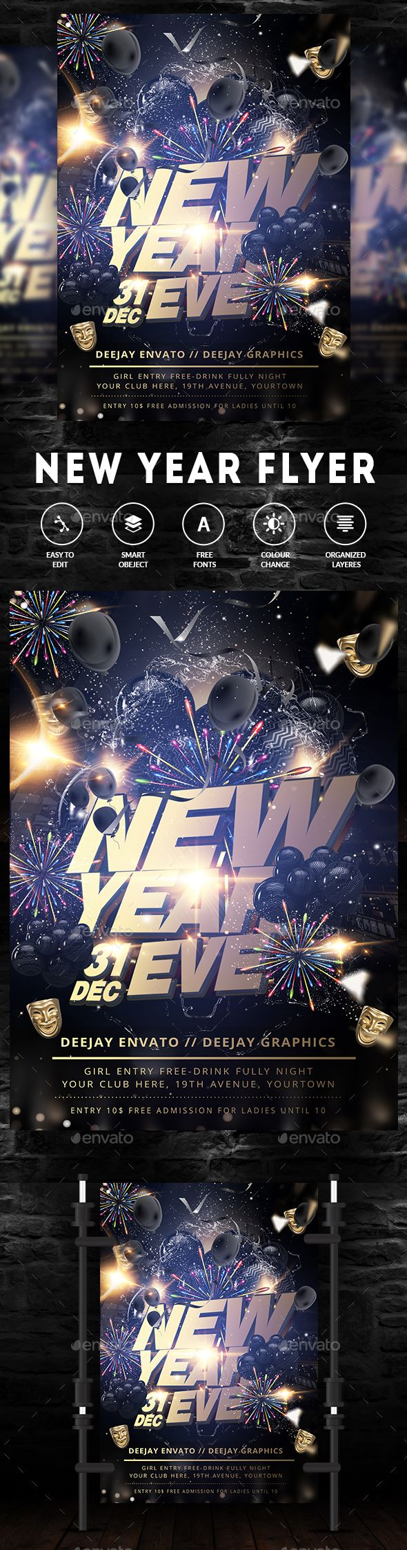 #New #Year #Party #Flyer - Clubs & Parties Events