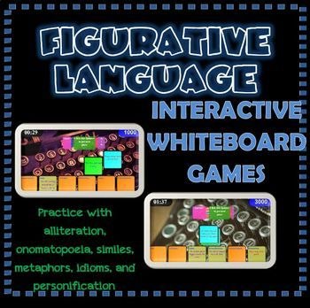 Have fun while reviewing figurative language- alliteration, onomatopoeia, similes, metaphors, idioms, and personification. The games have drag and drop interactions, an automatic timer and scoring, and sound effects. Your students will love these kinesthetic alternatives to worksheets!  In this NO PREP interactive whiteboard game, students race against the clock to match example phrases or sentences with the type of figurative language it is. $