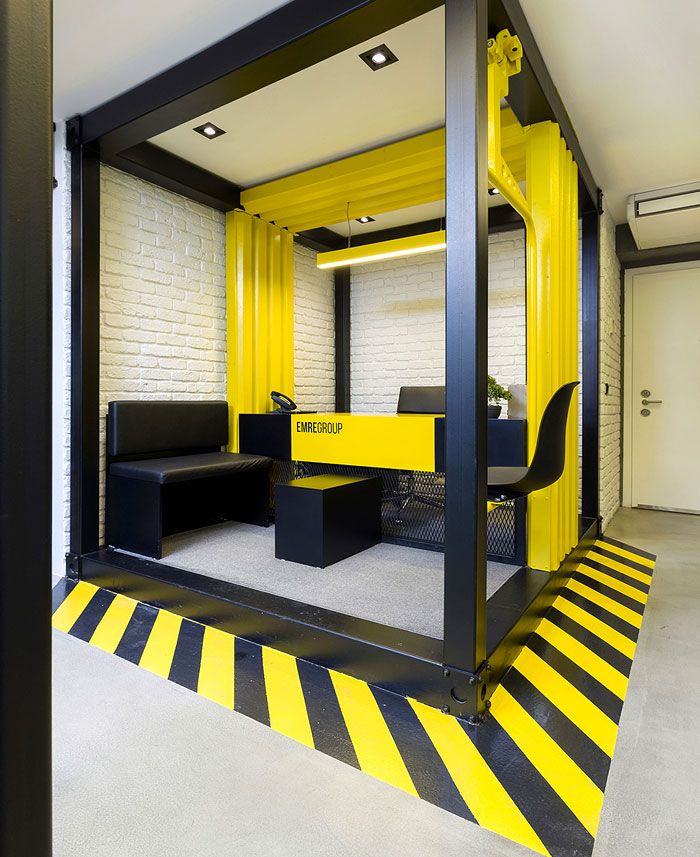 Black And Yellow Emre Group Office Interior Corporate Office Design Office Interiors Design