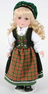 Hedemark from Norwegian Dolls 12 inches. The Hedemark bunad is based on the traditional folk costumes from the painting 'Girl from Hedemark' by Johan Friedrich Leonard Dreier at the end of the 18th century.
