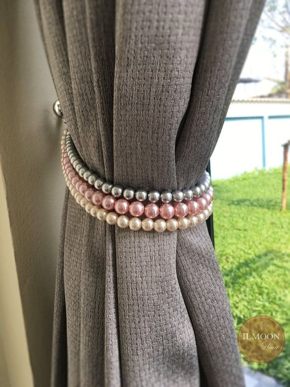 Pair X2 Pink Gray Gold Curtain Tie Backs Shabby Chic Curtain