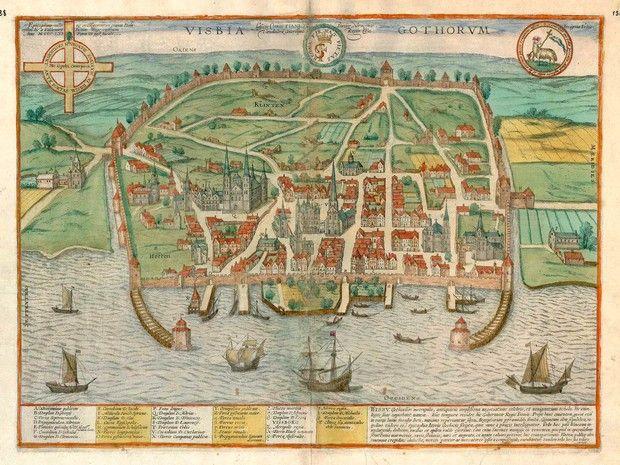 Visby, Sweden (Gotland) antique map #map #gotland #sweden #sverige