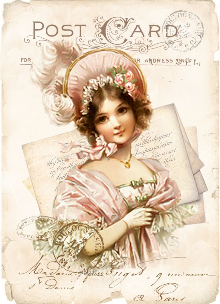 Vintage postcard letter girl digital collage p1022 For personal use........