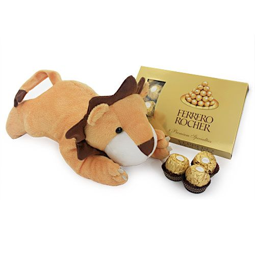 Get your kids face to face with the king of the jungle in its cutest form. Gift them a gift hamper of 11 x 6 inch lion shaped soft toy and delight your kids with the friendliest king ever. To add sweetness to the deal, we have included 8 pieces of Ferero Rocher chocolates to the hamper so that your kids can celebrate the arrival of their new fluffy friend with utmost sweetness. The toy is made with non toxic skin friendly material making it easy to maintain. http://www.fnp.com/valentine/