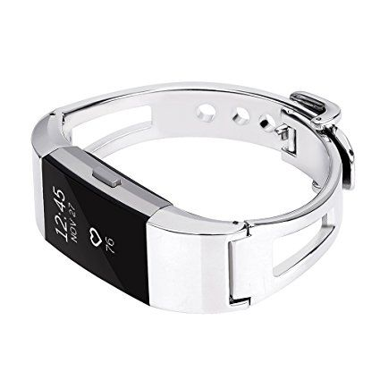 Amazon.com : For fitbit charge 2 Bands, TreasureMax Stainless Steel Replacement Accessory Bracelet band, Large, Small, Metal Bands for Fitbit Charge 2/charge 2 bands/fitbit charge 2 bands(No Tracker) : Sports & Outdoors More