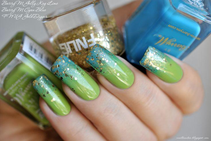 nailbamboo: BarryM Gelly Key Lime and BarryM Cyan Blue