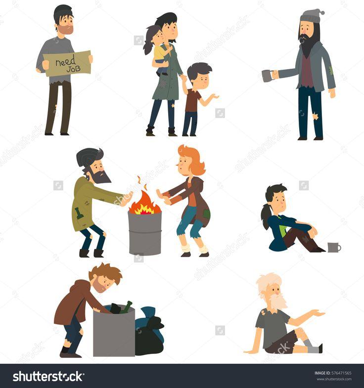 Homeless. Vector cartoon illustration isolated on white background