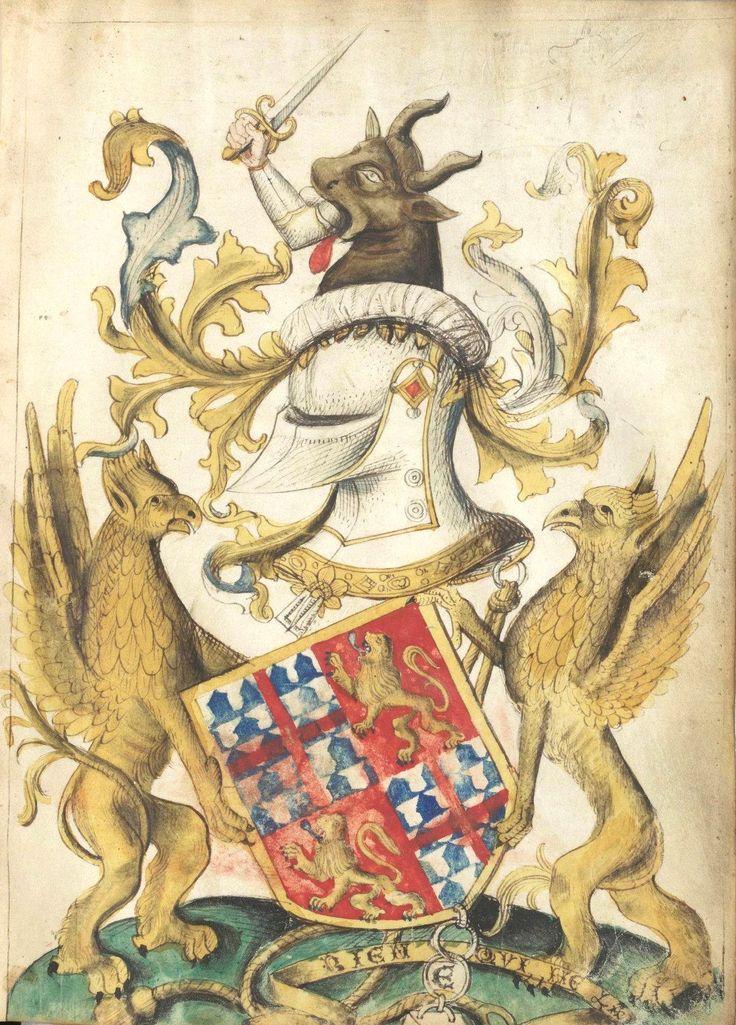 """Armes de Jean de Feschal, dit Marboué, baron de Poligné (f°NP) -- «Traité d'hippiatrie, Traité d'embouchure», XVe, France [BNF, Ms. NAF 28881] --  Ecartelé : aux 1 et 4, de vair à la croix (étroite) de gueules brochante, aux 2 et 3, de gueules au lion d'or armé et lampassé d'azur; le tout, à la bordure d'or; accompagnées d'une banderole à la devise """"RIEN QUI NE L'A"""""""