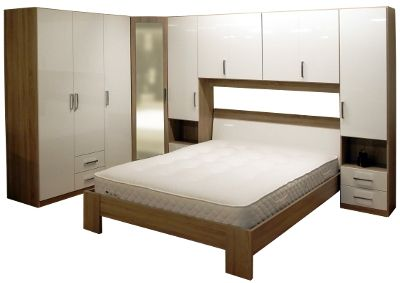 This Rauch Samos over-bed units package offers a complete suite. The units are ideal for storage and will create an attratcive feature in your home.