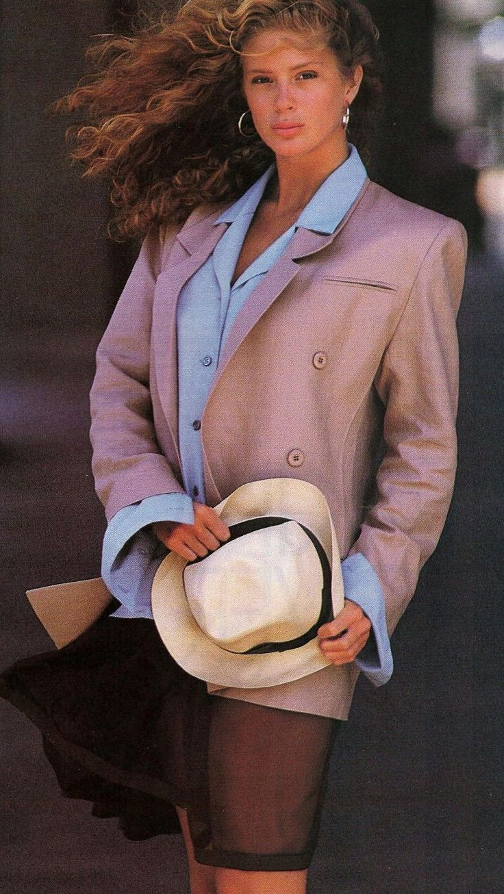 1988 US Elle June- ''Tailored over Tender''. Model Rachel Hunter. Photographer Gilles Bensimon