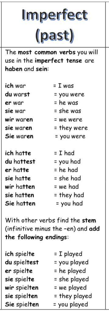"""Deutsch lernen auf Twitter: """"Das Präteritum (Imperfekt, Vergangenheit)…"""