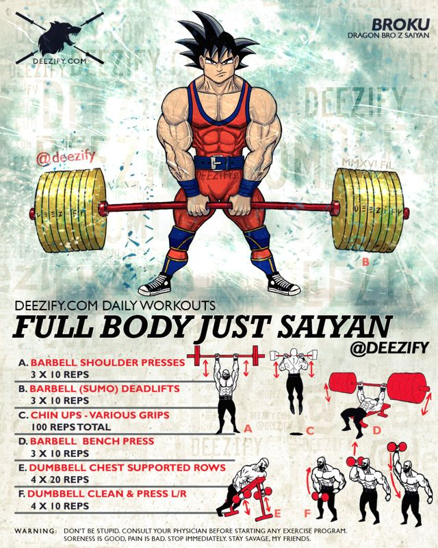The Full Body Workout To Go Super Saiyan. Get some hard basics in to start changing your body.