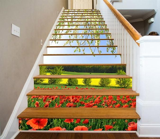 3D Flowers Butterfly Self-adhesive Stairs Sticker Home Decor Steps Decal Paster