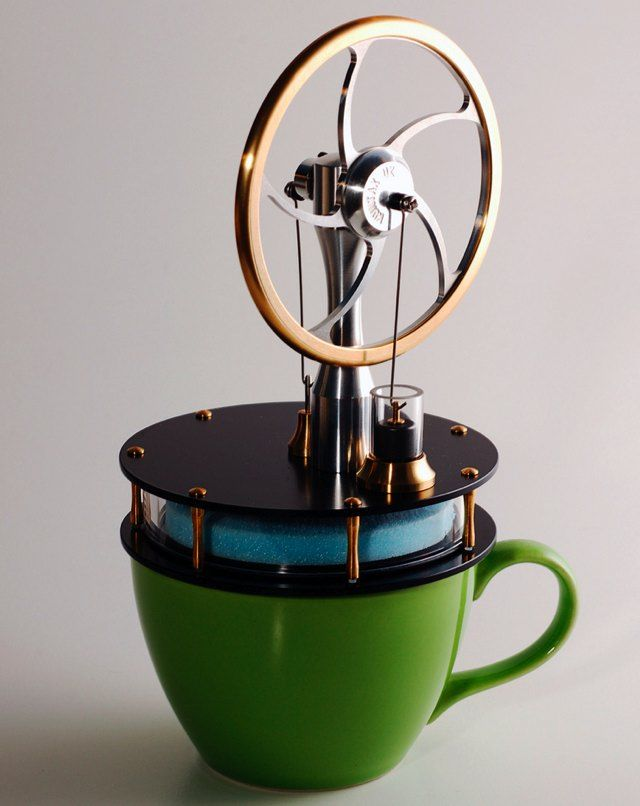 Great stocking stuffer for your favorite nerd:  a Coffee Cup Stirling Engine kit.   I love the simplicity of the Stirling design...Powered by your coffee's heat.