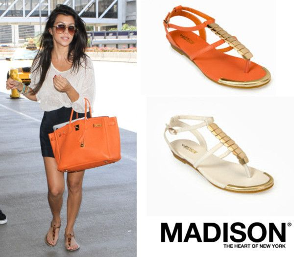 Kourtney Kardashian rocking the flat sandal. Get the look with the Huntington from www.madisonheartofnewyork.com