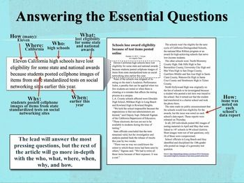Answering the Who? What? When? Where? Why? and How? in expository news writing. {Common Core Expository News Writing Tutorial & Activities}