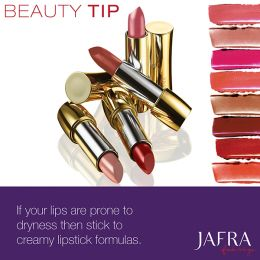 JAFRA Beauty Tip: If your lips are prone to dryness then stick to creamy lipstick formulas. #RoyalJelly #JAFRA