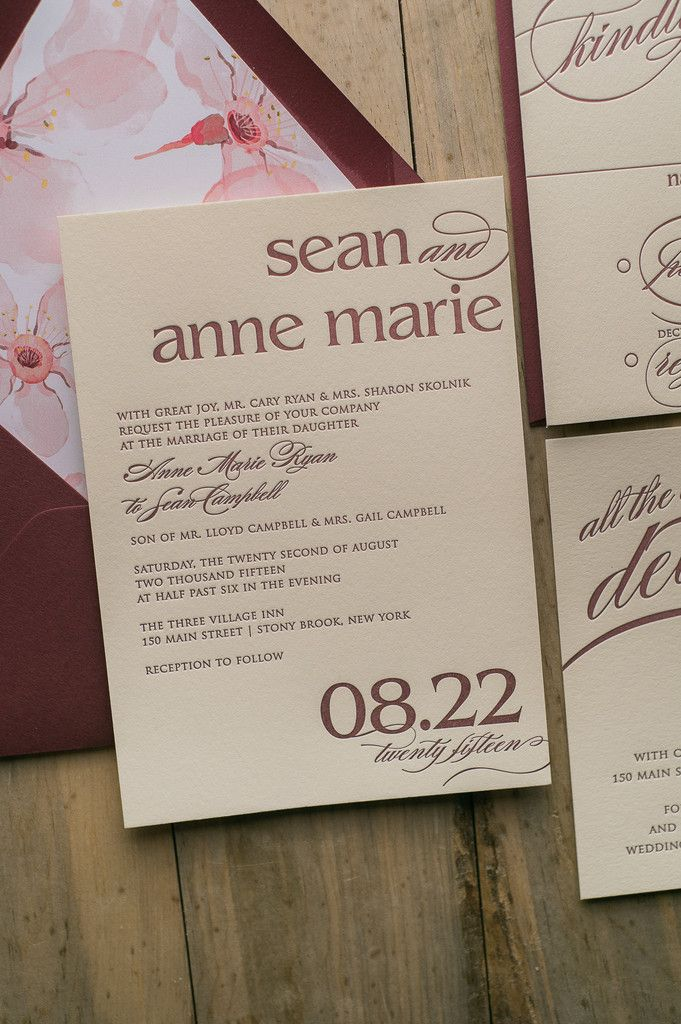Fabulous Ivory and Burgundy Letterpress Wedding Invitation with Blush Watercolor Floral Envelope Liner. CYNTHIA Floral Collection by Just Invite Me!