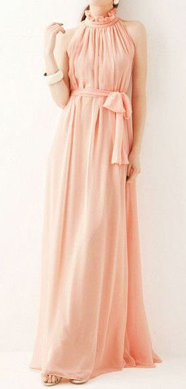 Glam Chiffon Maxi Dress - Baby Pink