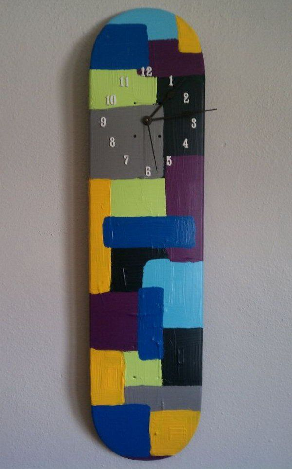 Repurposed Skateboard Deck Wall Clock: If you have a skateboard that is broken, then you need not worry as you can make this easy to make but extremely cool wall clock. See more details