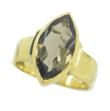 Smoky Quartz Gold Plated Ring teasing Brown gemstone AU KMOQ