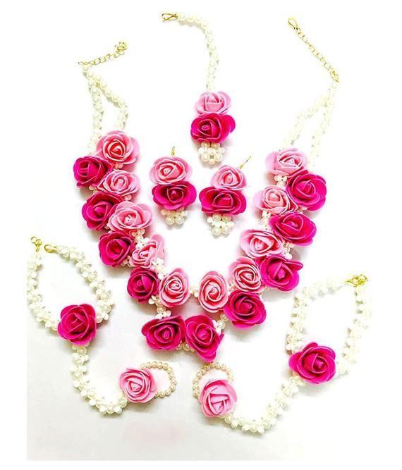Handmade Jewellery Beautiful Pearl Designer Pink Flower Jewellery Set With 6 Items For Women & Girls