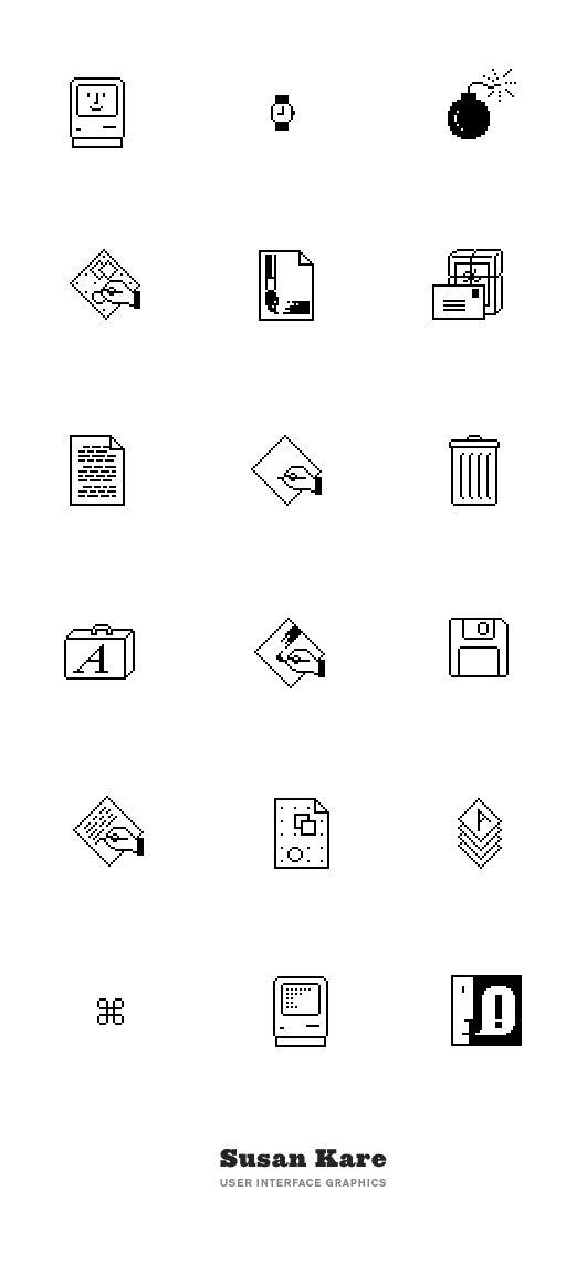 Susan Kare User Interface Graphics. Apple: Macintosh Icons