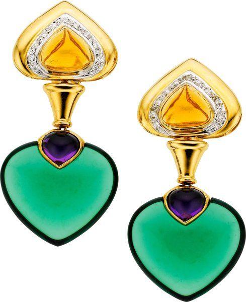 Diamond, Citrine, Amethyst, Glass, Gold Earrings.