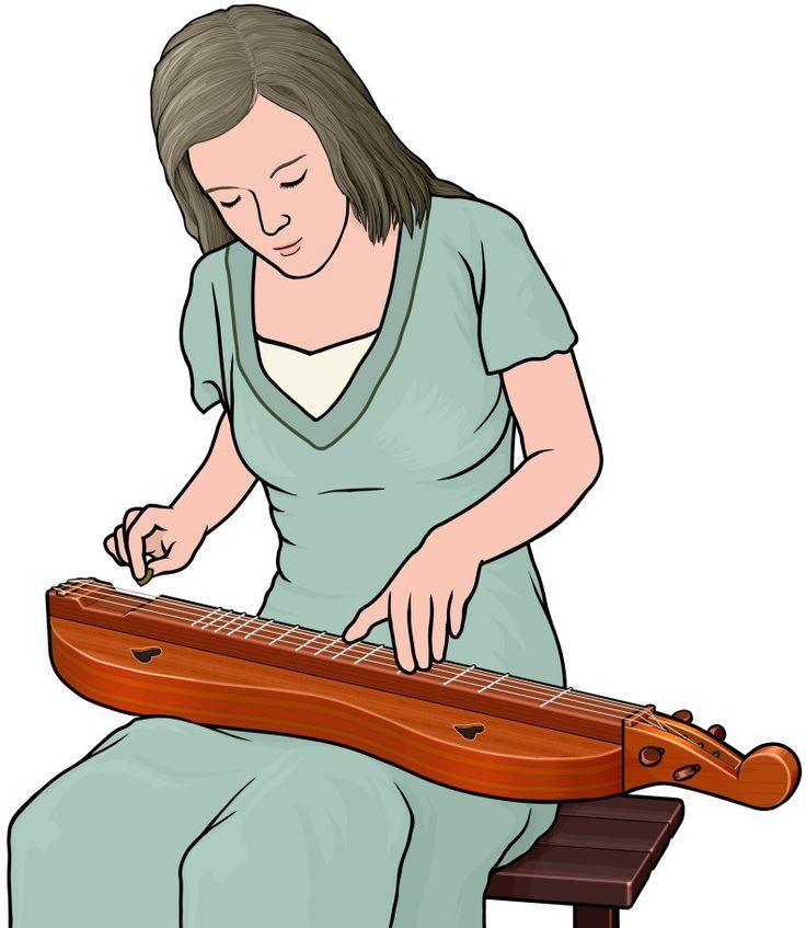 アパラチアン・ダルシマー(マウンテン・ダルシマー)を演奏する女性。Appalachian Dulcimer. アメリカ東部のアパラチア山脈あたりで親しまれた楽器。