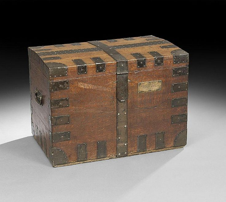 Victorian Oak Silver Storage Trunk, mid-19th cent., with iron strapwork; interior fitted with compartmented flatware storage trays