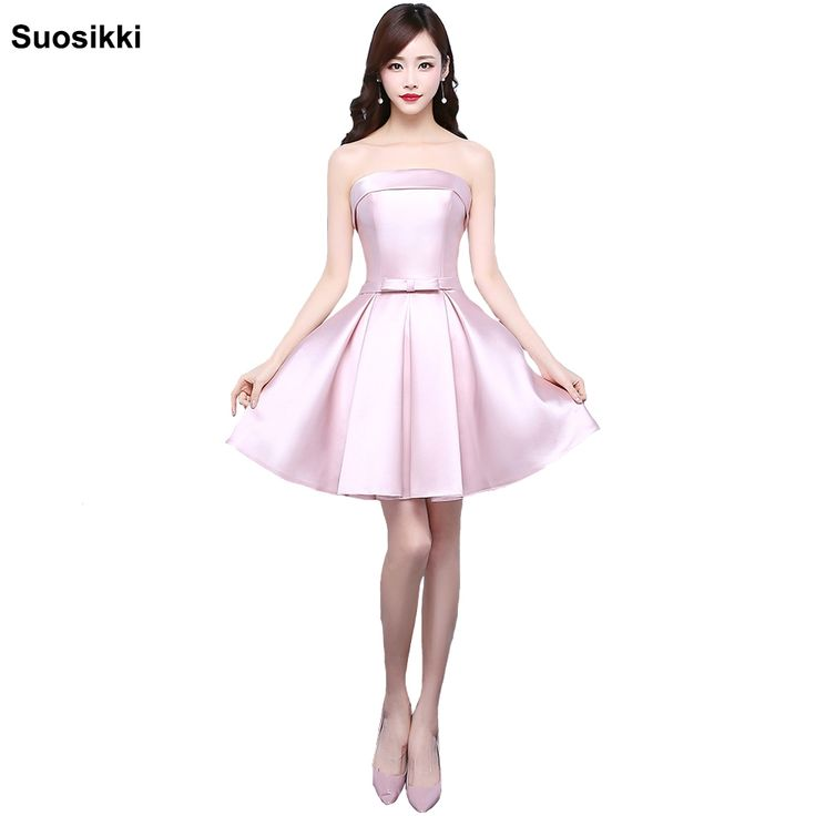 2017 New Pink Short Prom Dresses Light Pink Cocktail Dresses Bow Elegant formal Party mini dresses robe de soiree