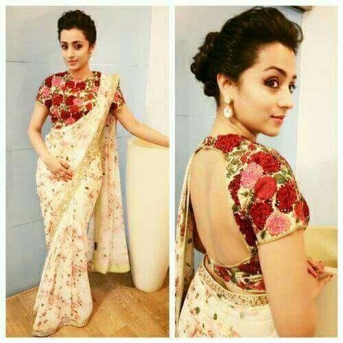 trisha in floral saree n blouse