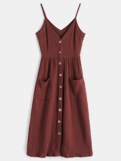 Cami Button Through Woven Midi Dress