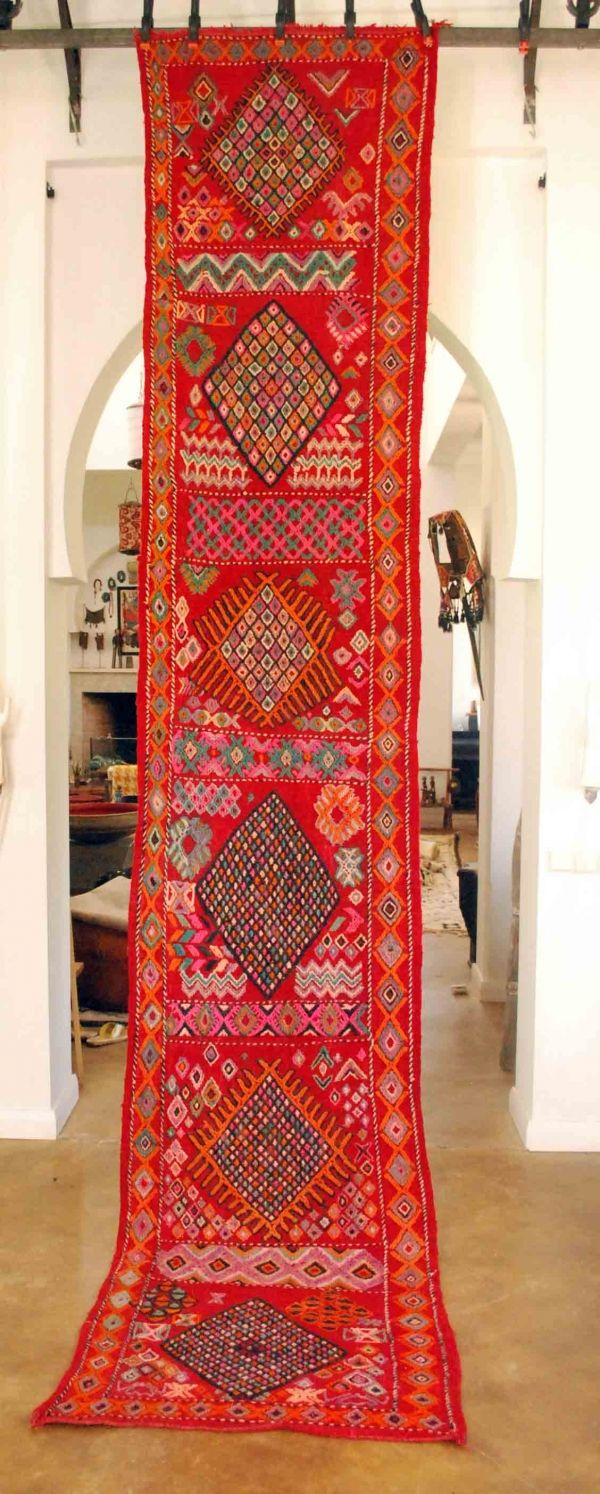 Vintage Moroccan Boujad Embroidered Carpet Moroccan