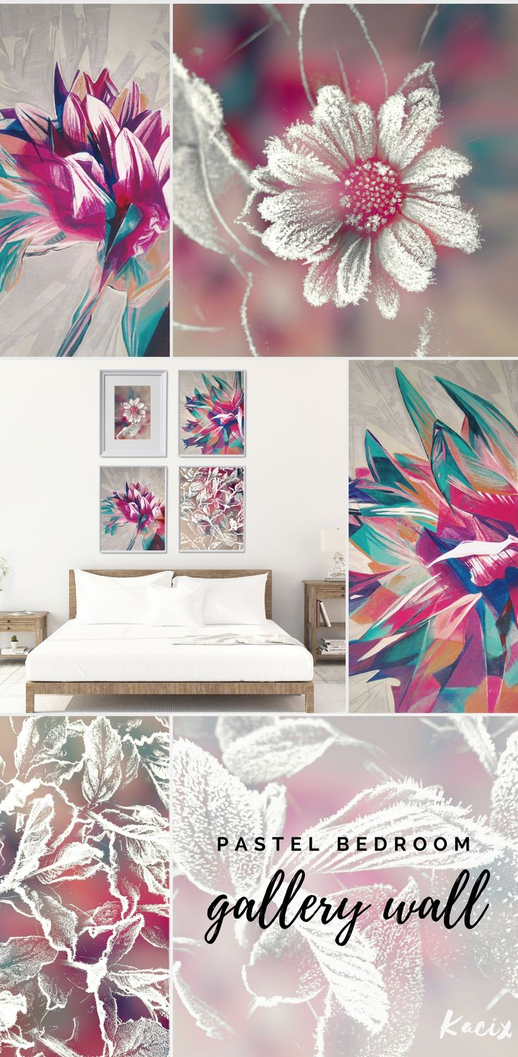 Botanical print set, a hand-picked combination of paintings and photography. Create original gallery wall in your bedroom! #bedroom #bedroomdecor #pastel #floralprint  #pink #gallerywall #walldecor