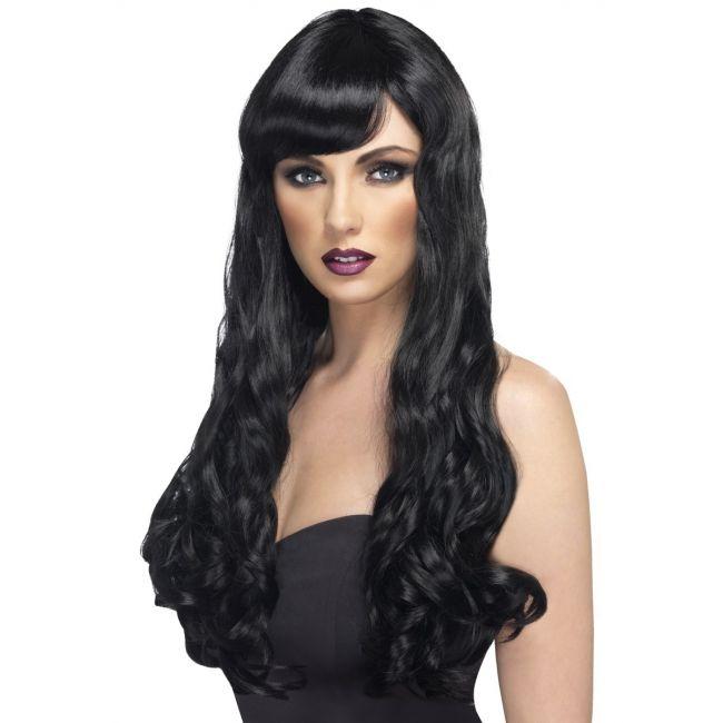Zwarte damespruik Desire met krullen  Lange zwarte pruik met golvend haar. Lange zwarte damespruik met golvend haar. De synthetische pruik heeft een pony.  EUR 16.95  Meer informatie