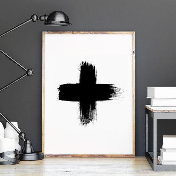 Black cross Scandi style art print