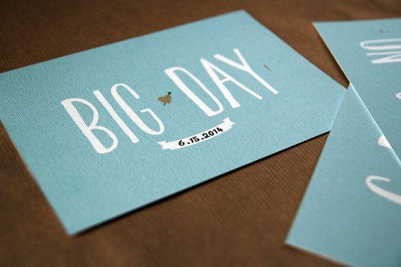"""DIY retro Hochzeitseinladung Set / Türkis und braun / Vintage Engagement Einladung / invite Hochzeitsprobe / """"Big Day"""" auf Etsy, 34,90€"""