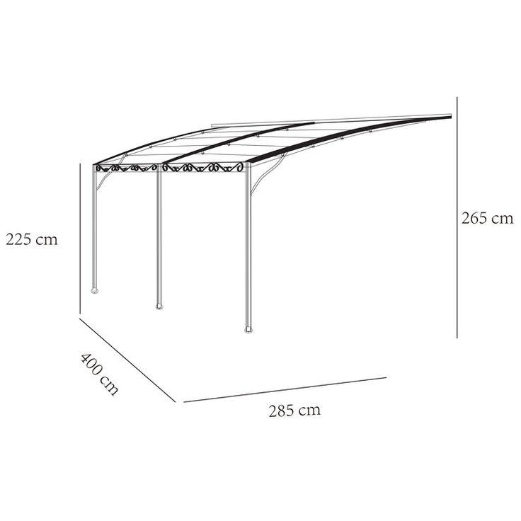 Structure : acier Toile : polyester 220 g/m² Dimensions : Longueur : 285 cm Largeur : 400 cm Hauteur : de 225/265 cm Poteaux : 4x4 cm Tonnelle adossée Ouverture et...