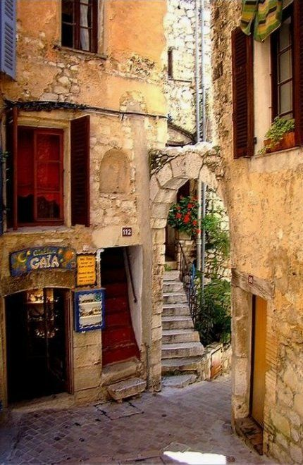 Medieval alley in Tourettes-sur-Loupe, Provence, France