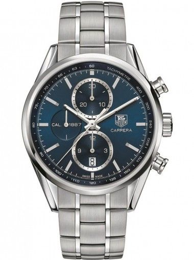 TAG HEUER Carrera Mens Automatic Chronograph Blue Dial Bracelet Watch CAR2115.BA0724