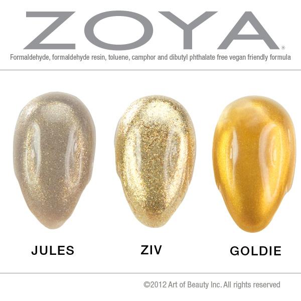 Gold Nail Polish Compares - Zoya Nail Polish in Jules, Zoya Ziv and Zoya Goldie. No dupes here!