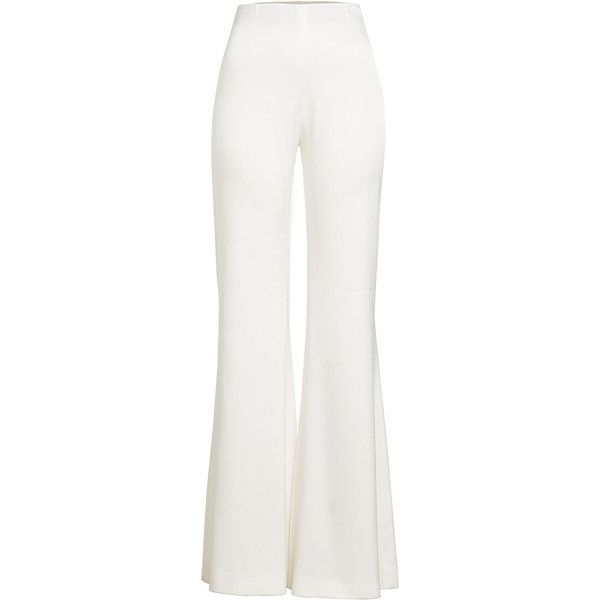 Galvan High-Waisted Satin Trousers (£510) ❤ liked on Polyvore featuring pants, white, white trousers, high-waisted wide leg pants, white wide leg trousers, high waisted trousers and white satin pants