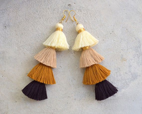 These are a hand-crafted pair of earrings that have been made from cotton yarn, metallic gold yarn and gold beads.  They will look great with your favorite pairs of jeans, shorts or a night out dress!  Length 5