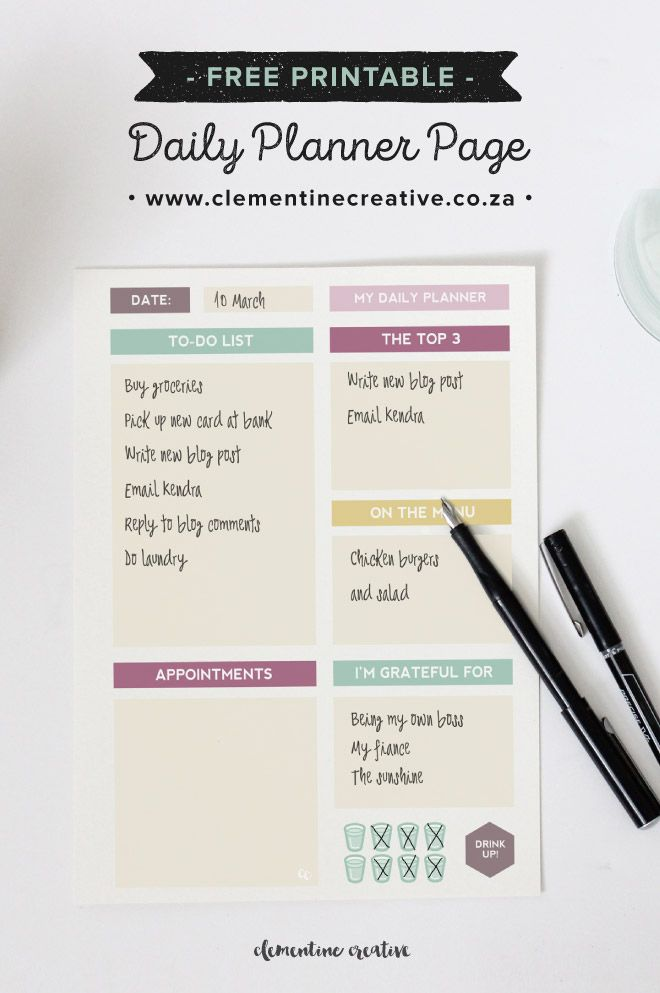 Plan your day with this pretty FREE printable daily planner page. Download here.