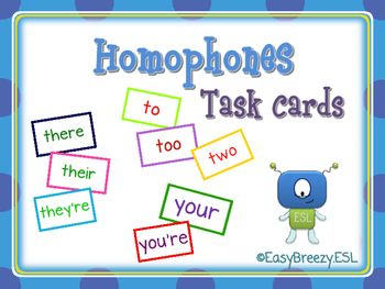 Here is a set of 120 task cards for grade 4-6 ESL students. It is designed to review the following homophones: there/their/they're, your/you're and to/too/two. You can use them as a partner activity, for small group work or at centres.***Canadian Spelling