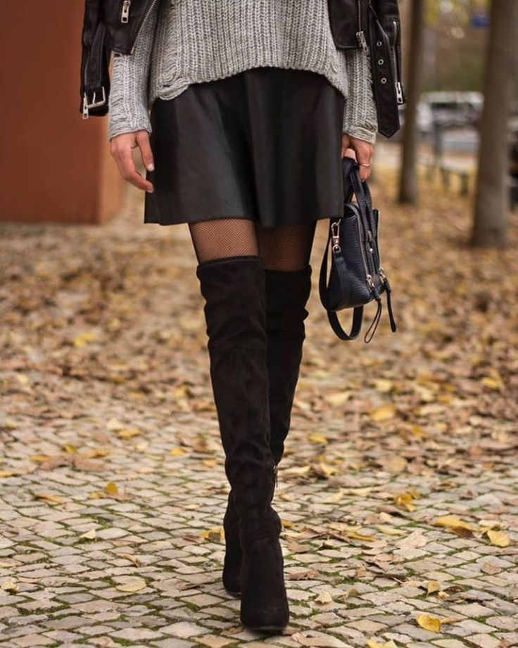 Over-the-kneeboots and fishnet tights.